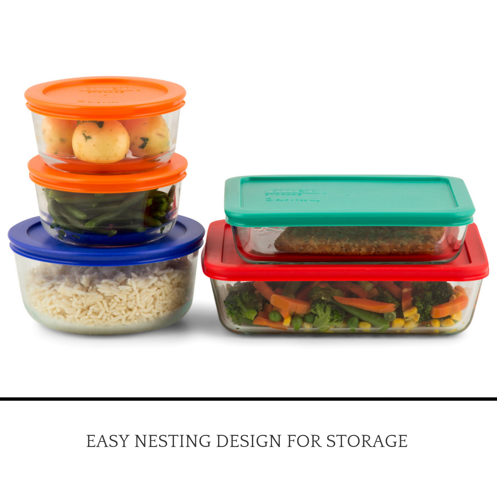 ab86f841b46c Details about New Pyrex Snapware Glass Lunch Containers Food Storage 10  Piece Set Freezer Oven