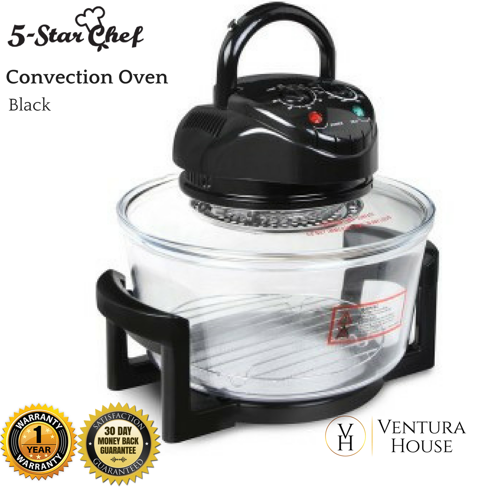 17l Benchtop Portable Convection Oven 1200 1400w Heat Resistant Glass Bowl Turbo Ebay